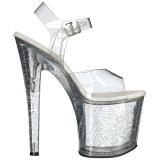 gjennomsiktig 19 cm TABOO-708MG glitter platå høye hæler dame