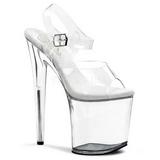gjennomsiktig 20 cm FLAMINGO-808 akryl platå høye hæler sko