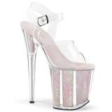 gjennomsiktig 20 cm FLAMINGO-808G glitter platå høye hæler dame