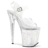 gjennomsiktig 20 cm Pleaser FLAMINGO-808MMG glitter sko med høye hæler