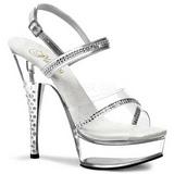 gjennomsiktig strass 15 cm DIAMOND-639 plattform høyhælte sko