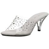 gjennomsiktig strass 8 cm BELLE-301RS høye slip in sko til menn