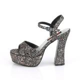glitter 13 cm DOLLY-09 demonia høyhælede sko med blokkhæl