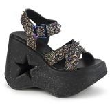 glitter 13 cm Demonia DYNAMITE-02 lolita sandaler med kilehæler