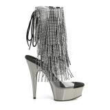 grå 15 cm DELIGHT-1017RSF høye ankelstøvletter med frynser til dame