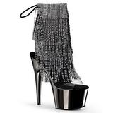 grå 18 cm ADORE-1017RSF høye ankelstøvletter med frynser til dame