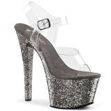 grå 18 cm SKY-308LG glitter platå høye hæler dame