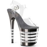 grå 20 cm FLAMINGO-808CHLN høyhælte sandaler krom platå