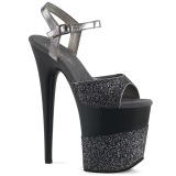 grå glinser 20 cm Pleaser FLAMINGO-809-2G høye hæler platå