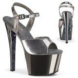 grå krom platå 18 cm SKY-309TTG pleaser høye hæler for kvinner