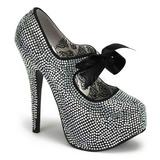 grå strass 14,5 cm Burlesque TEEZE-04R høye platform pumps sko