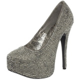 grå strass 14,5 cm Burlesque TEEZE-06R høye platform pumps sko