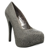 grå strass 14,5 cm Burlesque TEEZE-06RW pumps for brede føtter til menn