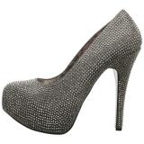 grå strass 14,5 cm Burlesque TEEZE-06RW pumps for brede føtter til menn