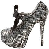 grå strass 14,5 cm TEEZE-04R høye platform pumps sko