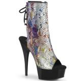 grå transparent 15 cm DELIGHT-1018SP høyhælte ankelstøvletter - pole dance hæler