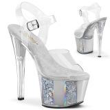 grå transparent 18 cm SKY-308OF høyhælte sandaler - pole dance hæler