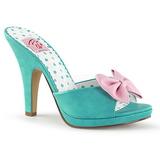 grønn 10 cm SIREN-03 pinup mules sko med sløyfe