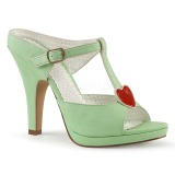 grønn 10 cm retro vintage SIREN-09 høyhælte slipper sko
