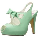 grønn 11,5 cm retro vintage BETTIE-03 pinup pumps sko med skjult platå