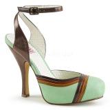 grønn 11,5 cm retro vintage CUTIEPIE-01 pinup sandaler med skjult platå