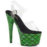 grønn 18 cm ADORE-708MSLG glitter platå sandaler dame