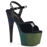 grønn 18 cm ADORE-709OMBRE glitter platå sandaler dame