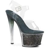 grønn 18 cm SKY-308G-T glitter platå sandaler dame
