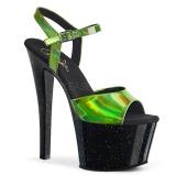 grønn 18 cm SKY-309HG hologram platå høye hæler dame