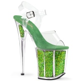 grønn 20 cm FLAMINGO-808GF glitter platå høye hæler dame