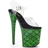 grønn 20 cm FLAMINGO-808MSLG glitter platå sandaler dame