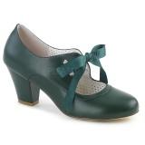 grønn 6,5 cm WIGGLE-32 pinup pumps sko med blokkhæl