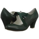 grønn 6,5 cm WIGGLE-32 retro vintage maryjane pumps med blokkhæl