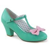 grønn 6,5 cm WIGGLE-50 pinup pumps sko med blokkhæl