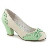 grønn 6,5 cm retro vintage WIGGLE-17 pinup pumps sko med blokkhæl
