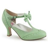 grønn 7,5 cm FLAPPER-11 pinup pumps sko med lave hæler