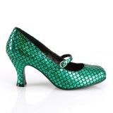 grønn 7,5 cm MERMAID-70 pinup pumps med lave hæler