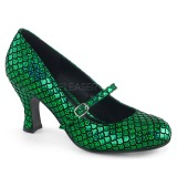 grønn 7,5 cm MERMAID-70 pinup pumps sko med lave hæler