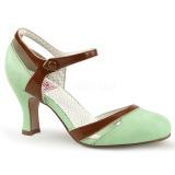 grønn 7,5 cm retro vintage FLAPPER-27 pinup pumps med lave hæler