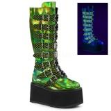 grønn 9 cm DAMNED-318 høye platåstøvler til dame med spenner