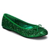 grønn STAR-16G glitter ballerinasko dame med flate hæl