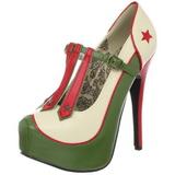 grønn beige 14,5 cm Burlesque TEEZE-43 høye damesko med hæl