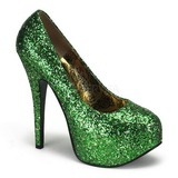 grønn glitter 14,5 cm BORDELLO TEEZE-06G platå pumps høy hæl