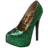 grønn glitter 14,5 cm Burlesque BORDELLO TEEZE-06G platå pumps høy hæl