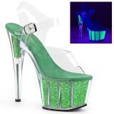 grønn glitter 18 cm Pleaser ADORE-708UVG pole dancing sko