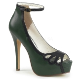 grønn kunstlær 13,5 cm BELLA-31 dame pumps sko med åpen tå