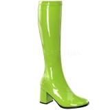 grønn lakkert 8,5 cm GOGO-300 høye damestøvler til menn