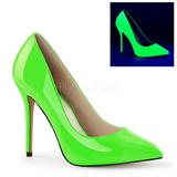 grønn neon 13 cm AMUSE-20 spisse pumps med stiletthæler