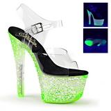 grønn neon 18 cm Pleaser CRYSTALIZE-308PS platå høye hæler sko