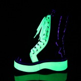 grønn neon 5 cm EMILY-350 cyberpunk platå ankelstøvletter